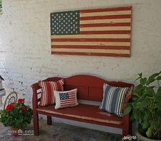 farmhouse decor, side porch, rustic farmhouse, flag, red bench, back porches, garden, front porches