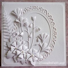 A Scrapjourney...stunning arrangement of delicate die cut flowers...all white...no stamping... wedding scrapbook, white card, die cut, stamp, wedding cards, paper, boxes, challeng, cut flowers