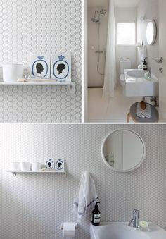 Hexagonal tiles.