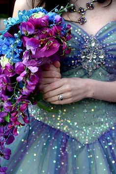 Blue Aqua and Purple Wedding Dress