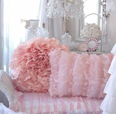 poofy ruffley pink pillow.