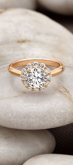 14K Rose Gold Lotus Flower Diamond Ring