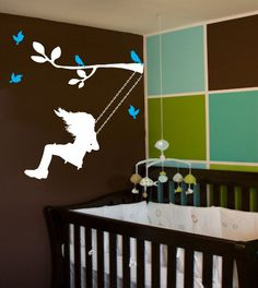 (squares) Girl on Swing Wall Decal Vinyl Sticker Baby by AllOnTheWall, $45.00