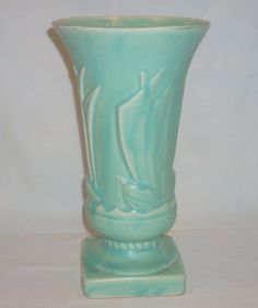 Vintage 1940's McCoy Pottery Sea Green Sailboat Vase.