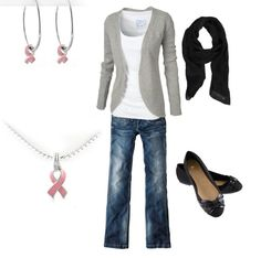John Medeiros Jewelry Collection little inspiration breast cancer ribbon charms paired with casual fall clothing. Perfect to show your support during breast cancer awareness month!