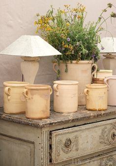 Antique Italian olive pots