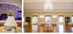 Soft ivory wedding cake table and kings table set within Lovett Hall Ballroom