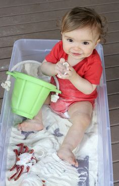 Baby/Toddler Beach Sensory Bin with Edible Sand! from Fun at Home with Kids- White Cornmeal