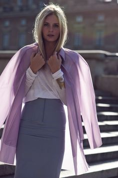 Grey pencil skirt with a gorgeous lavender Acne raincoat | #fashion