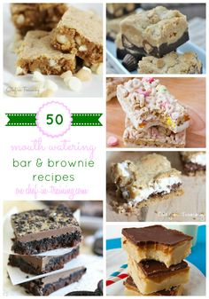 50 Bar and Brownie Recipes on chef-in-training.com ...A MUST see list! So many delicious ideas!
