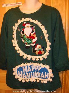 Happy Hanukkah Festive Sweatshirt with Santa and Fringe (j64)