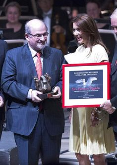 royalwatcher: Hans Christian Anderson Literature Award, Denmark, August 17, 2014-Crown Princess Mary attended Denmark's most prestigious literary award; she is shown here with this year's recipient Salman Rushdie.