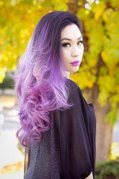 Ombre violet to lavender hair color