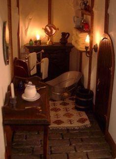 LOTR Hobbiton Bilbo Baggins' Bag End hobbit-hole: Bathroom.