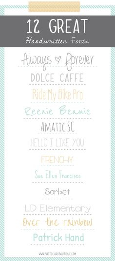 12 Great Handwritten Fonts - Photo Card Boutique, LLC