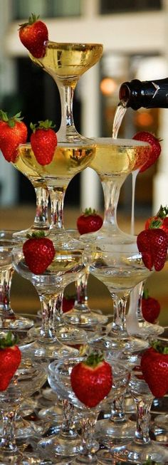 French Champagne  Strawberry Tower At Opera After-Party -ShazB