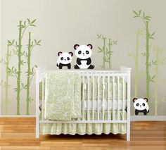 Pandas and Bamboo Forest Vinyl Wall Decal for Nursery, Kids, Childrens Room. $75.00, via Etsy.