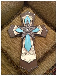 Large Brown, Turquoise And Designer Paper Wood Cross.