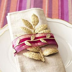 table decorations, ribbon idea, thanksgiv tabl, napkins, napkin holders, thanksgiving table, holiday idea, happi thanksgivinglet, gold vine