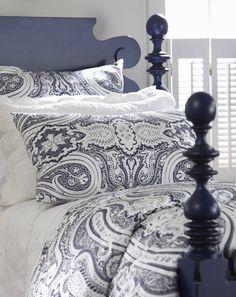 Crisp bandana bedding with Quincy Bed in marine blue.