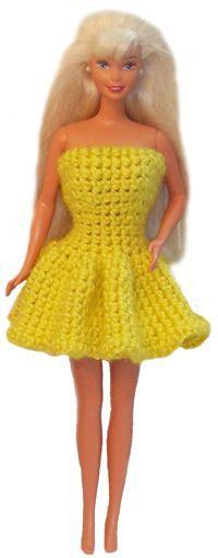 #Free Pattern; Barbie Doll Ruffle Dress  ~~
