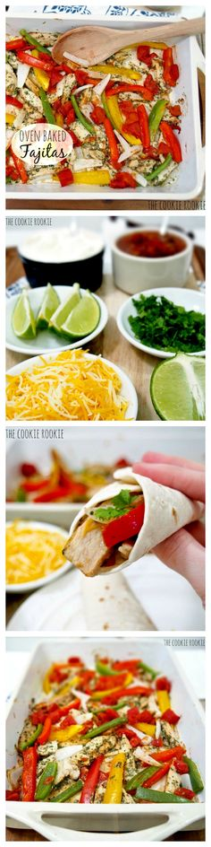 HEALTHY Chicken Fajitas!! Skinny BAKED Chicken Fajitas from The Cookie Rookie.  SO easy and so tasty. {The Cookie Rookie}