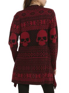 Iron Fist Black and Red Skull Cardigan ~ Hot Topic