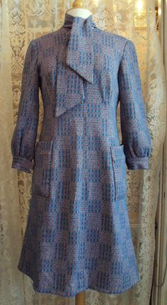 Vintage 1970s Polyester Check Dress, on Etsy at RetroRosiesVintage