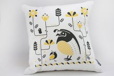 Woodland Quail Pillow Cover  Brown and Yellow by ToddAh on Etsy, $35.00