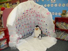 We were having a unit over Penguins in my first grade classroom!  This is a simple craft that I made out of milk jugs.  The kids loved reading under it!
