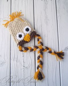 READY TO SHIP Owl hat for 0-3 months Tan brown