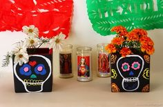 Day of the Dead vases for decoration on your altar. Dia de los Muertos