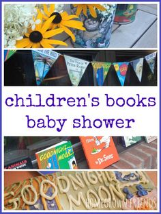 Great ideas for a book themed baby shower.  Check out the Goodnight Moon Cake!!