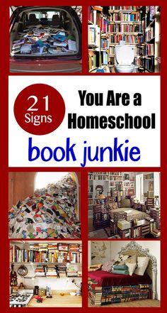 21 Signs You Are a Homeschool Book Junkie #HOmeschool #Humor