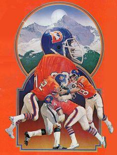 Denver Broncos cover art for Pro! Magazine by Chuck Ren