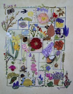Nature themed embroidery sampler