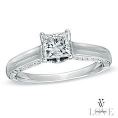 Vera Wang LOVE Collection 1-1/8 CT. T.W. Princess-Cut Diamond Engagement Ring in 14K White Gold - View All Rings - Zales