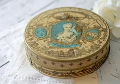 Antique French Candy Tin - Turquoise, Gold and Brown - circa 1900's - RARE.