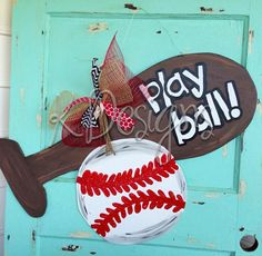 Bat and Ball door hanger  Sports door hanger by paintchic on Etsy, $40.00