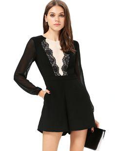 Black Lace Chiffon Jumpsuit