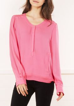 A.L.C. pink collarless button-down blouse