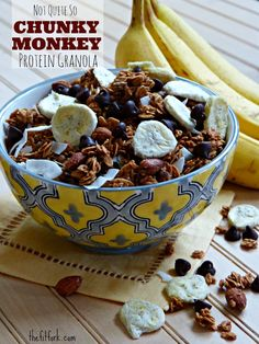 Not Quite So Chunky Monkey Protein Granola - this easy breakfast recipe also makes a sensible snack and includes @bluediamond almonds #ad | thefitfork.com