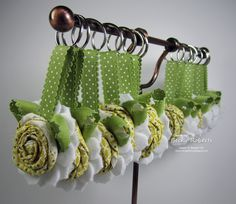 Love these!  from Becky Roberts paper craft, ink idaho, flower keychain, sew project, fabric flowers, ribbon, stampin, card, fabric keychains