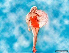 Marilyn Monroe con paraguas | Wallpaper pin-up