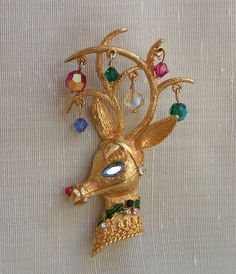 60s MYLU Rudolph Red Nosed Reindeer Pin Antler Ornaments Christmas Xmas Brooch Vintage