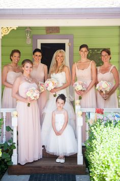 Long, blush chiffon dresses by Jenny Yoo are airy, yet formal bridesmaid dress, honor dress, chiffon dresses