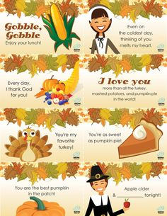 Thanksgiving Lunchbox Notes  http://imom.com/tools/seasonal/thanksgiving/thanksgiving-lunchbox-notes/  #thanksgiving holiday, lunchbox note, craft, lunch boxes, thanksgiv lunchbox, fall, printabl, lunch box notes, kid