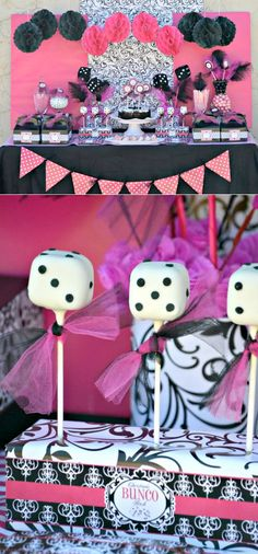 Love the dice pops (50's theme?)   Love the back drop (could hang 3 pieces wrap paper vertically)