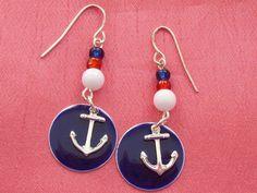 Nautical Blue Red Anchor Charm Pierced Hooks Earrings