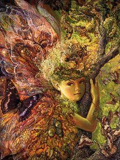 Fairies, Tea, and Cupcakes Please fantasy artwork, tree stumps, artworks, wall paintings, fairi, josephine wall, fairy art, josephin wall, tree of life